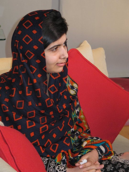 In this Jan. 22 2013 photo released  Monday Feb. 4 2013, fifteen-year-old Malala Yousefzai relaxes. The Pakistani girl shot by the Taliban on Oct. 9 2012 has made her first video statement since she w