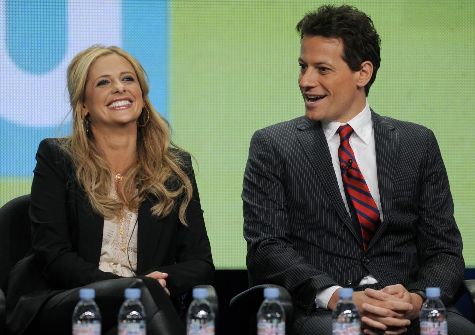 "Sarah Michelle Gellar, left, and Ioan Gruffudd, cast members in the CW series ""Ringer,"" take part in a panel discussion on the show at the CW Showtime summer press tour in Beverly Hills, Calif., Thursday, Aug. 4, 2011. (AP Photo/Chris Pizzello)"