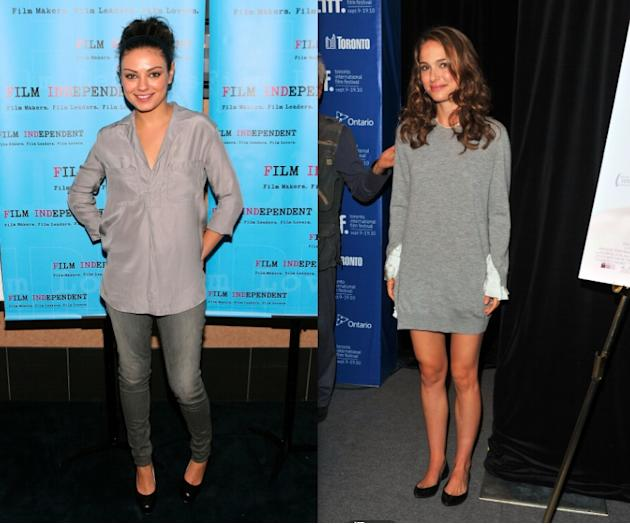 Mila and Natalie in casual grey looks