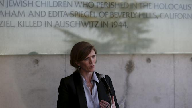 U.S. Ambassador to United Nations Power speaks to the media during her visit to Yad Vashem Holocaust History Museum in Jerusalem