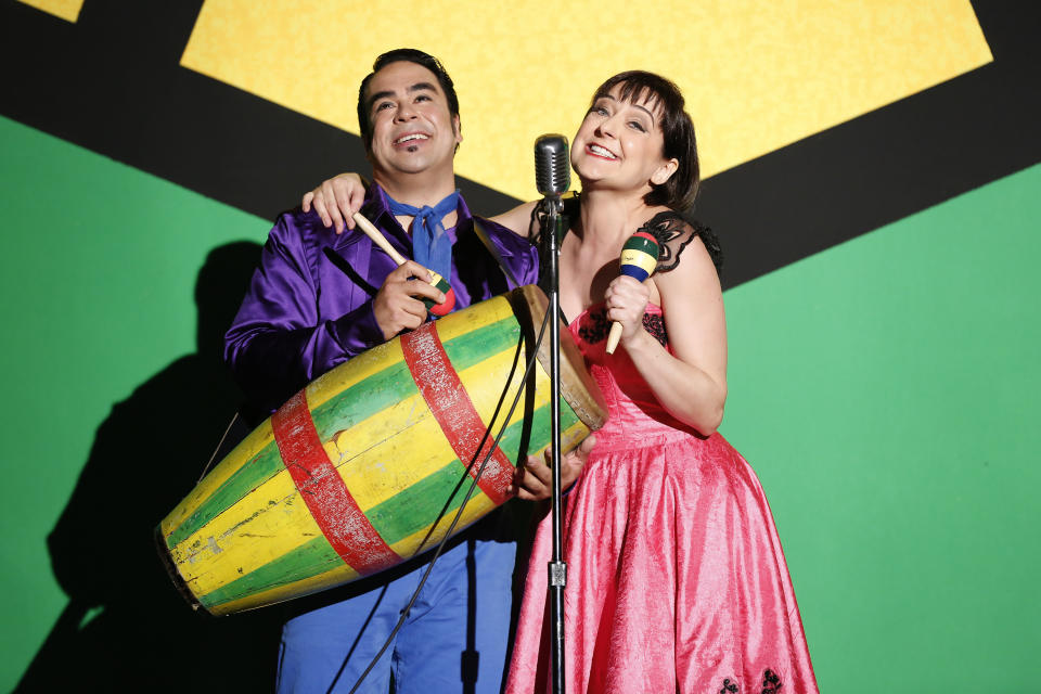 In this April 19, 2013 photo provided by the New York City Opera, Philippe Talbot in the role of Piquillo, performs with Marie Lenormand in the title role of La Périchole during a dress rehearsal in New York of the Jacques Offenbach's opera bouffe. (AP Photo/New York City Opera, Carol Rosegg)