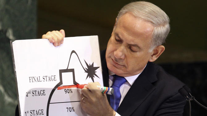 FILE - In this Thursday, Sept. 27, 2012 file photo, Israeli Prime Minister Benjamin Netanyahu uses a red marker as he on a diagram of a bomb as he describes his concerns over Iran's nuclear ambitions during his address to the 67th session of the United Nations General Assembly at U.N. headquarters. Attempts to find Arab-Israeli common ground on banning weapons of mass destruction from the Mideast have failed, and high-profile talks on the issue have been called off, diplomats said Saturday, Nov. 11, 2012. (AP Photo/Seth Wenig)