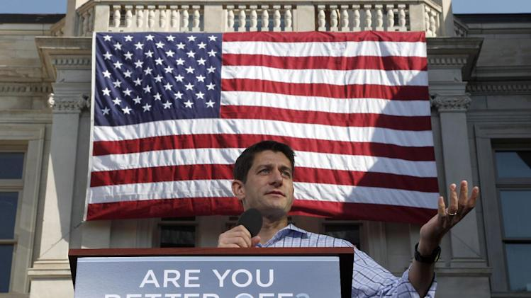 Republican vice presidential candidate, Rep. Paul Ryan, R-Wis. speaks during a campaign event at the Dallas County Courthouse, Wednesday, Sept. 5, 2012, in Adel, Iowa.  (AP Photo/Mary Altaffer)