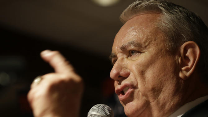 Former Wisconsin Gov. Tommy Thompson appears at his primary election night party Tuesday, August,14, 2012 in Waukesha, Wis. The GOP Senate primary was held Tuesday with the winner taking on Tammy Baldwin for the U.S. Senate seat vacated by Herb Kohl. (AP Photo/Jeffrey Phelps)