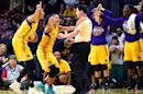 Sparks players argue a foul call with referee Roy Gulbeyan during an 85-79 loss to the Minnesota Lynx at Staples Center on October 16, 2016 in Los Angeles, California