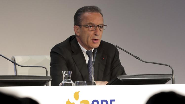 Henri Proglio, chief executive of French state-owned utility EDF, speaks during the company's 2012 annual result presentation in Paris