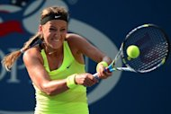 Belarus' Victoria Azarenka plays a shot against Russia's Maria Sharapova during the 2012 US Open women's singles semifinals at the USTA Billie Jean King National Tennis Center in New York. Azarenka defeated Maria Sharapova 3-6, 6-2, 6-4