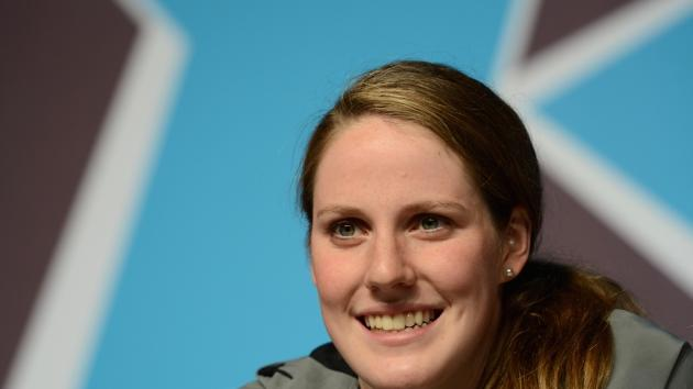 Missy Franklin of the United States speak to the media during a press conference on Day 8 of the London 2012 Olympic Games at the Aquatics Centre on August 4, 2012  -- Getty Images
