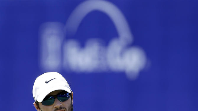 Kyle Stanley responds to the crowd after finishing the third round of the PGA Zurich Classic golf tournament at TPC Louisiana in Avondale, La., Saturday, April 27, 2013. (AP Photo/Gerald Herbert)