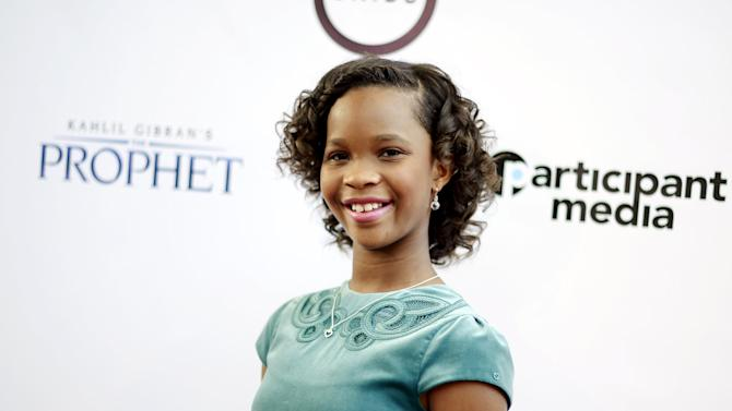 "Cast member Quvenzhane Wallis poses during the Los Angeles screening of Khalil Gibran's ""The Prophet"" at Los Angeles County Museum of Art's Bing Theater in Los Angeles"
