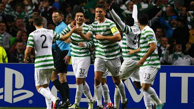 Celtic celebrate Tony Watt's winner against Barcelona