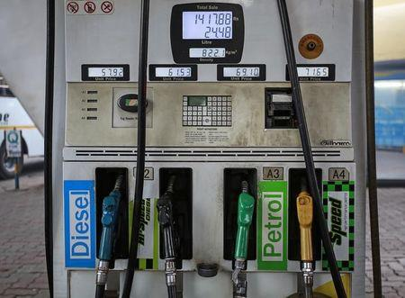 Fuel pumps are seen at a Bharat Petroleum petrol station in Mumbai