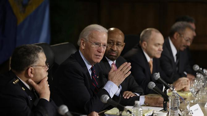 Vice President Joe Biden gestures as speaks after a round table discussion on gun control, Monday, Feb. 11, 2013, at Girard College in Philadelphia. From left are, Philadelphia Police Commissioner Charles Ramsey, Biden, Philadelphia Mayor Michael Nutter, New York City Police Commissioner Ray Kelly, Rep. Chaka Fattah, D-Pa., and Deputy Attorney General Jim Cole.  (AP Photo/Matt Rourke)