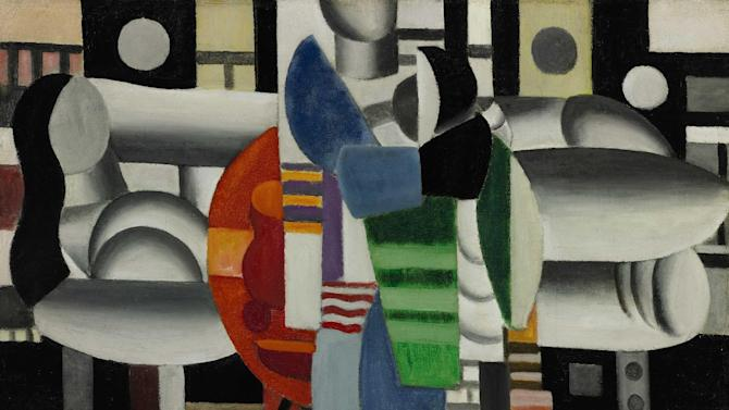 "This image provided by Sotheby's shows ""Three Women at the Red Table"" by Fernand Leger which will be offered at Sotheby's sale of impressionist and modern art on May 7, 2013. Pop diva Madonna is parting with the abstract French painting she's owned for more than 20 years to support girls' education in Afghanistan, Pakistan and other countries. It's expected to bring $5 million to $7 million. All the proceeds will benefit the Ray of Light Foundation. It will be on view at the auction house's New York gallery beginning May 3. (AP Photo/Sotheby's)"