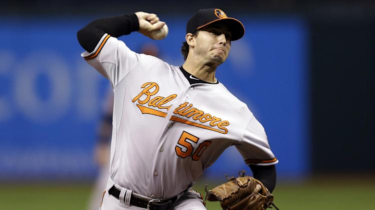 Baltimore Orioles starting pitcher Miguel Gonzalez delivers to the Tampa Bay Rays during the first inning of a baseball game, Tuesday, Oct. 2, 2012, in St. Petersburg, Fla. (AP Photo/Chris O'Meara)