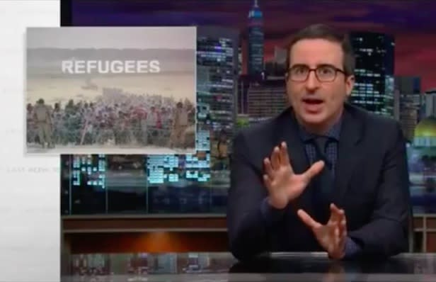 John Oliver Proposes Pie-Eating Contest for Syrian Refugee Screening (Video)