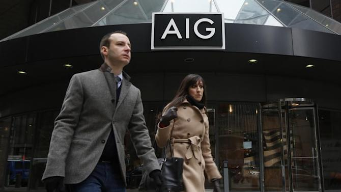 The AIG headquarters offices are seen in New York's financial district