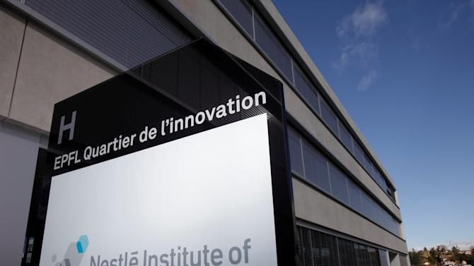 A logo is pictured outside the Nestle Institute of Health Sciences in Lausanne