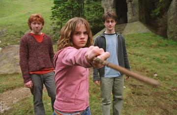 Rupert Grint , Emma Watson and Daniel Radcliffe in Warner Brothers' Harry Potter and the Prisoner of Azkaban