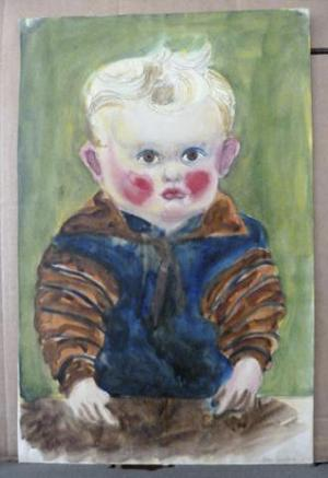 Photo provided by the Augsburg, southern Germany, prosecution Monday, Nov. 11, 2013 shows Otto Griebel's 'Kind am Tisch' (Child at a table) that was among the more than 1400 art works that were seized by German authorities in an apartment in Munich in February 2012. Investigators, aided by a leading art historian, are trying to establish the artworks' legal status and history. It's unclear how many of the works might be subject to return to pre-World War II owners. (AP Photo/Staatsanwaltschaft Augsburg)