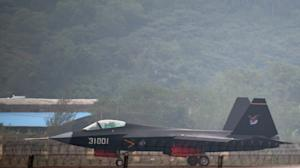 A J-31 stealth fighter taxis after a flight at the…