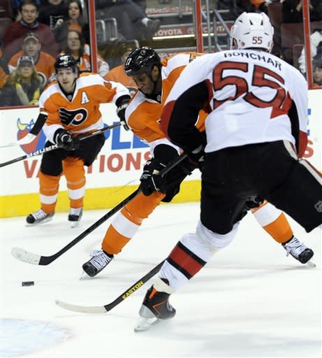 Flyers top Senators 2-1, move to .500 for 1st time