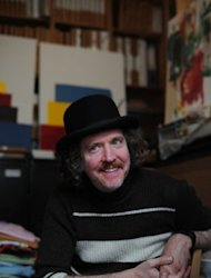 "British Turner prize-winning artist Martin Creed at his east London studio on July 6. Church bells, bicycle bells, handbells, ship's bells, and even mobile phones will sound across Britain in a ""cacophonous, amazing sound"" to mark the start of the Olympics, he told AFP"
