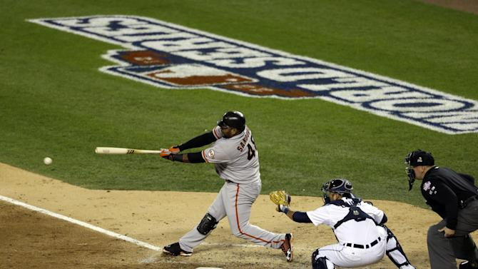 San Francisco Giants' Pablo Sandoval hits a single during the third inning of Game 4 of baseball's World Series against the Detroit Tigers Sunday, Oct. 28, 2012, in Detroit. (AP Photo/Patrick Semansky)