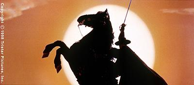 The famous silhouette of Zorro in Tristar's The Mask of Zorro