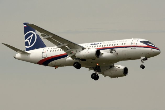 File photo of Sukhoi Superjet 100 in the 48th Paris Air Show at the Le Bourget airport near Paris