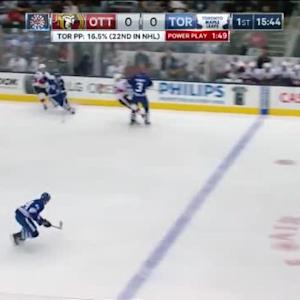 Dion Phaneuf Hit on Erik Condra (04:19/1st)