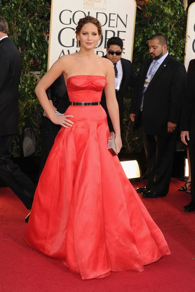 Jennifer Lawrence: This Dior Haute Couture dress reminds us of the slinky red Calvin Klein Jennifer wore to the 2011 Oscars, not so much because of the colour but because of the excitement it brought