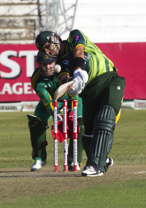 Pakistan's Misbah Ul Haq plays a shot during their fourth One Day International cricket match against South Africa in Durban