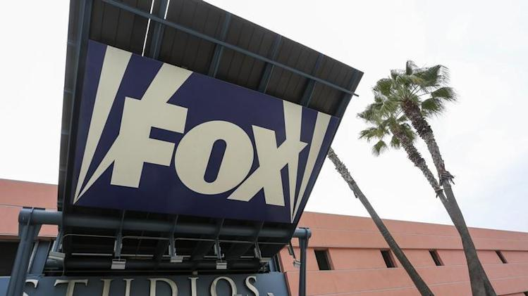 Sign is pictured at vehicle entrance to Fox Studios in Los Angeles, California