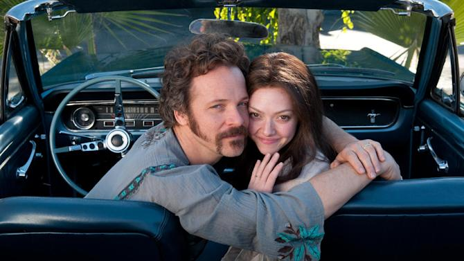 """This film publicity image released by RADIUS-TWC shows Peter Sarsgaard as Chuck Traynor, left, and Amanda Seyfried as Linda Lovelace in """"Lovelace."""" The film opens nationwide on Aug. 9. (AP Photo/RADIUS-TWC, Dale Robinette)"""