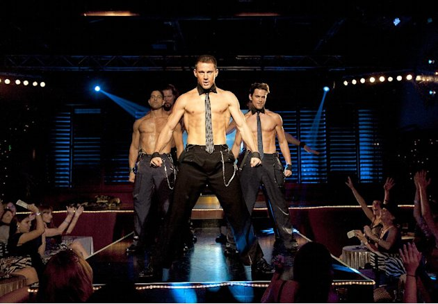 This file photo released by Warner Bros. shows, from left, Adam Rodriguez, Kevin Nash, Channing Tatum, and Matt Bomer in a scene from
