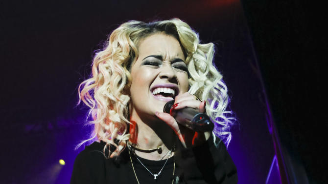Singer Rita Ora is seen in concert at the Nokia Theatre during Advertising Week on Monday, Oct. 1, 2012 in New York. (Photo by Brian Ach/Invision for Advertising Week/AP Images)