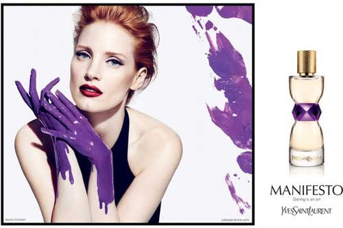 YSL Unveils Campaign For Manifesto Fragrance Starring Jessica Chastain's Purple Hands