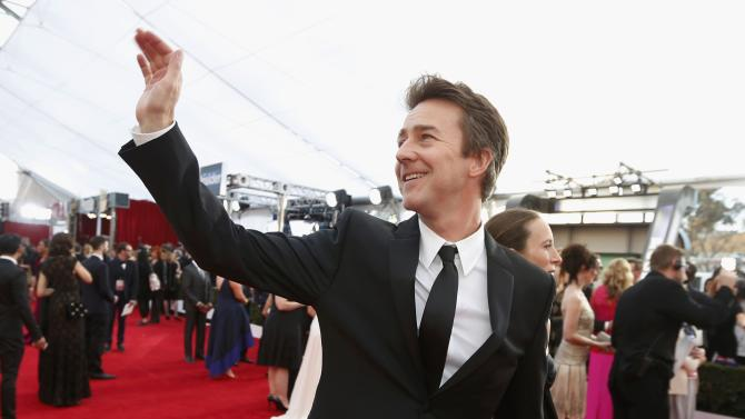 Actor Edward Norton arrives at the 21st annual Screen Actors Guild Awards in Los Angeles