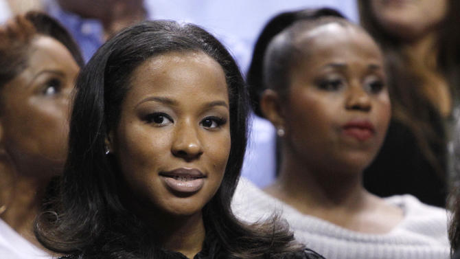 Savannah Brinson, the fiancee of Miami Heat's LeBron James, watches an NBA basketball game between the Heat and the Atlanta Hawks, Monday, Jan. 2, 2012, in Miami. (AP Photo/Lynne Sladky)