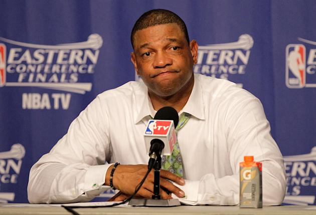 Boston Celtics Head Coach Doc Rivers Speaks Getty Images