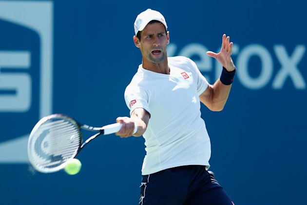 NEW YORK, NY - AUGUST 24: Novak Djokovic of Serbia in a practice session during previews for the US Open tennis at USTA Billie Jean King National Tenn...