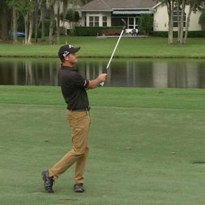 Sam Saunders stuffs his approach close on No. 16 at the Web.com Tour Championship