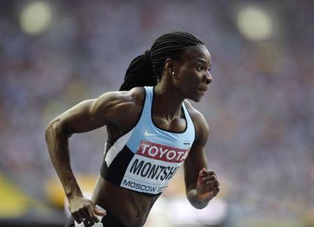 Montsho of Botswana leaves the starting block in her women's 400 metres semi-finals during the IAAF World Athletics Championships in Moscow