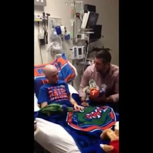 Tim Tebow Surprises Teen Cancer Patient in Hospital