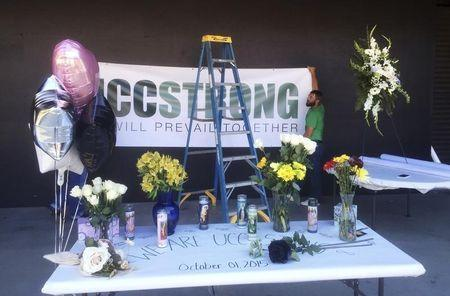 A memorial is assembled in the central areas of Umpqua Community College campus commemorating the people who lost their lives in Roseburg