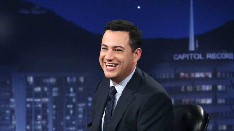 "FILE - This July 25, 2012 photo released by ABC shows Jimmy Kimmel hosting his late night show ""Jimmy Kimmel Live,"" in the Hollywood section of Los Angeles.  Kimmel said on Friday, Jan. 11, 2013, that ""Jimmy Kimmel Live"" has scheduled Matt Damon as a guest on Jan. 24. (AP Photo/ABC, Richard Cartwright, File)"