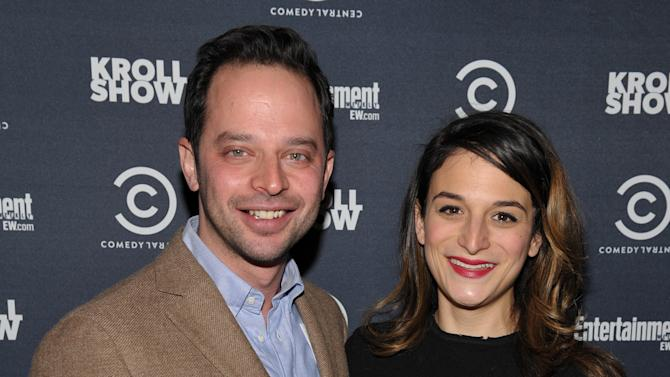 "Actor/comedian Nick Kroll, left, and actress Jenny Slate attend an exclusive screening of Comedy Central's ""Kroll Show"" hosted by Entertainment Weekly on Tuesday, January 15, 2013 at LA's Silent Movie Theatre in Los Angeles. (Photo by John Shearer/Invision for Entertainment Weekly/AP Images)"