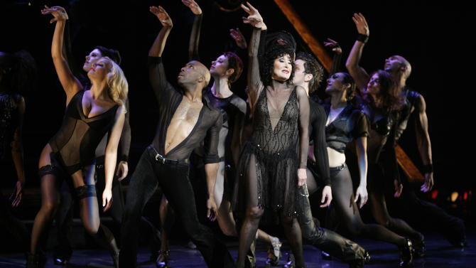 "FILE - In this Nov. 14, 2006 file photo, Chita Rivera, center, performs with members of the cast during a dress rehearsal for 10th Anniversary of the musical ""Chicago"" in New York. The matinee performance on Aug. 27, 2011 will mark the musical's 6,138 show, meaning it vaults over ""A Chorus Line"" to become the fourth longest-running show in Broadway history. (AP Photo/Seth Wenig)"
