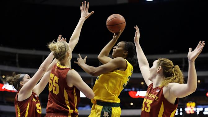 Iowa State's Hallie Christofferson (5), Anna Prins (55) and Chelsea Poppens (33) defend against a shot attempt by Baylor's Brooklyn Pope, second from right, in the first half of their NCAA college basketball championship game in the Big 12 Conference tournament, Monday, March 11, 2013, in Dallas. (AP Photo/Tony Gutierrez)